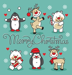 set cute christmas animals with hand lettering vector image