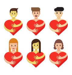 Set of characters hugging heart cartoon people vector