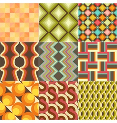 Set of Colorful Retro Seamless Pattern vector image
