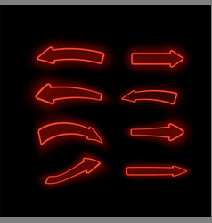 set of different neon red arrows vector image
