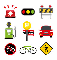set of element city traffic object and sign vector image