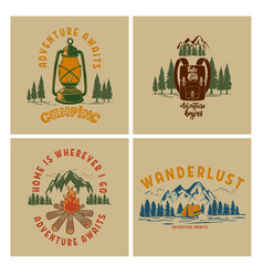 set vintage poster designs with mountains vector image