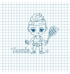 Sketch Girl Tennis-Player vector