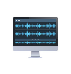 sound monitor audio waves oscillating blue light vector image