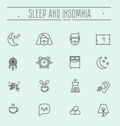 thin line icons sleep problems and insomnia vector image