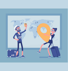 travel planning at map vector image