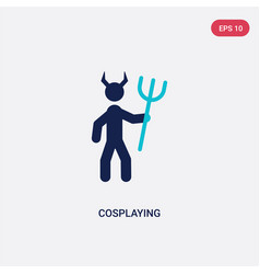 Two color cosplaying icon from activity and vector