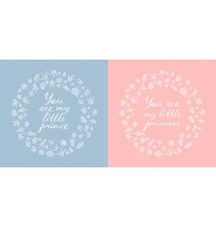 two round frames crowns and hearts vector image