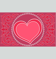 valentines day beautiful red card with hearts vector image