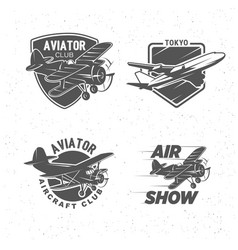 vintage airplane symbols logotypes aviation vector image