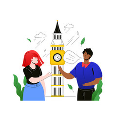 Visit the uk - colorful flat design style vector