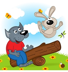 Wolf and rabbit on swing vector