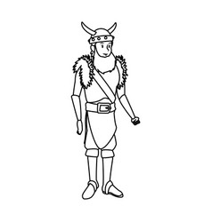 Young man viking costume suit halloween vector