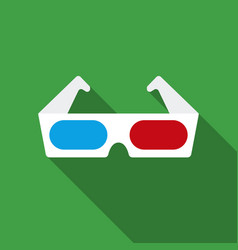 anaglyph 3d glasses icon in flat style isolated on vector image