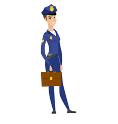 caucasian police woman holding briefcase vector image vector image