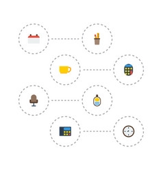 flat icons tea armchair date and other vector image vector image