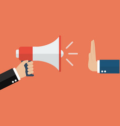 hand gestures no to megaphone vector image