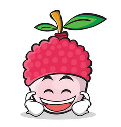 laughing face lychee cartoon character style vector image