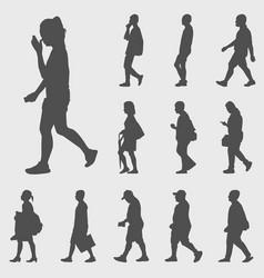 walk silhouettes set vector image