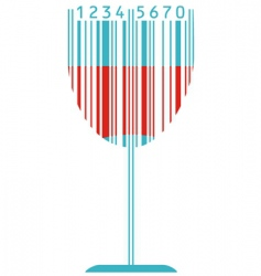 wine glass and barcode vector image