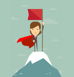 woman with flag on a mountain peak vector image