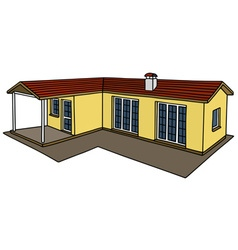 Yellow small house vector image