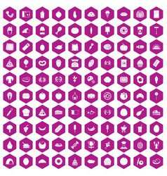 100 favorite food icons hexagon violet vector image vector image