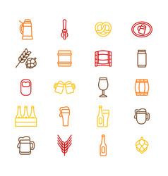 beer alcohol drink thin line icon set vector image vector image