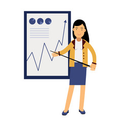 businesswoman in an elegant suit pointing at a vector image vector image