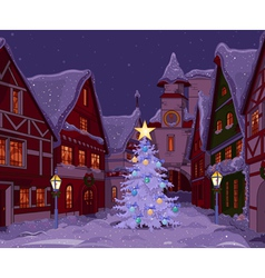 Christmas night at town vector image vector image
