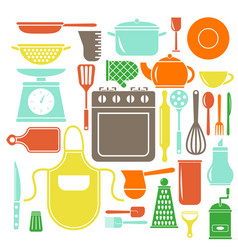 colorful kitchen icons set flat style vector image