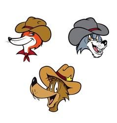 cowboy coyote fox wolf vector image vector image