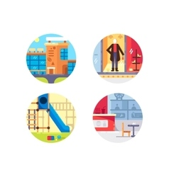 Shopping center set icons vector image