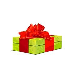 beautiful green wedding gift box with a red bow vector image vector image