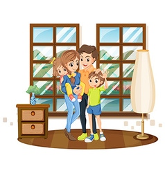 Family members in the house vector image vector image