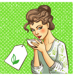 pop art of woman with cup of vector image vector image