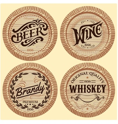 set of template wooden barrels for alcoholic bever vector image vector image