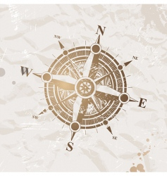 vintage paper with compass rose vector image vector image