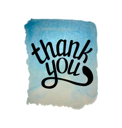 Blue watercolor thank you vector image