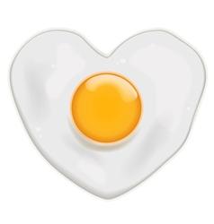 Fried egg heart shape vector