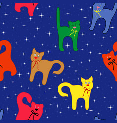funny cats over starry sky vector image vector image