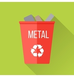 Red Recycle Garbage Bin with Metal vector image