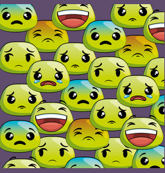 set emoji faces pattern vector image