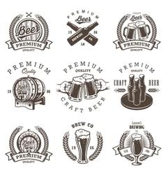 Set of vintage beer brewery emblems vector