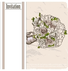 Vintage card with wedding bouquet vector image