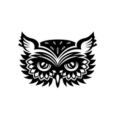 Wise old horned owl head vector image