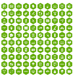 100 virtual icons hexagon green vector