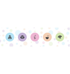 5 asia icons vector