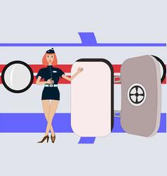 Air lady stewardess invites to flight near the vector