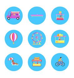Amusement park icon collection vector